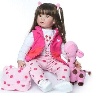 Новая 60 см Кукла Новорожденный с длинными волосами, реалистичные куклы ручной работы для новорожденных, очаровательные реалистичные куклы ...