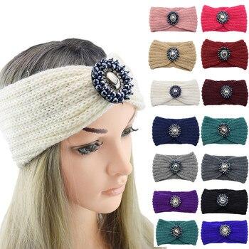 Diamond Fashion Women Thermal Hand Knitting Headband Pearl Ladies Wool Head Hairband Sweet Girls Knot Casual Winter