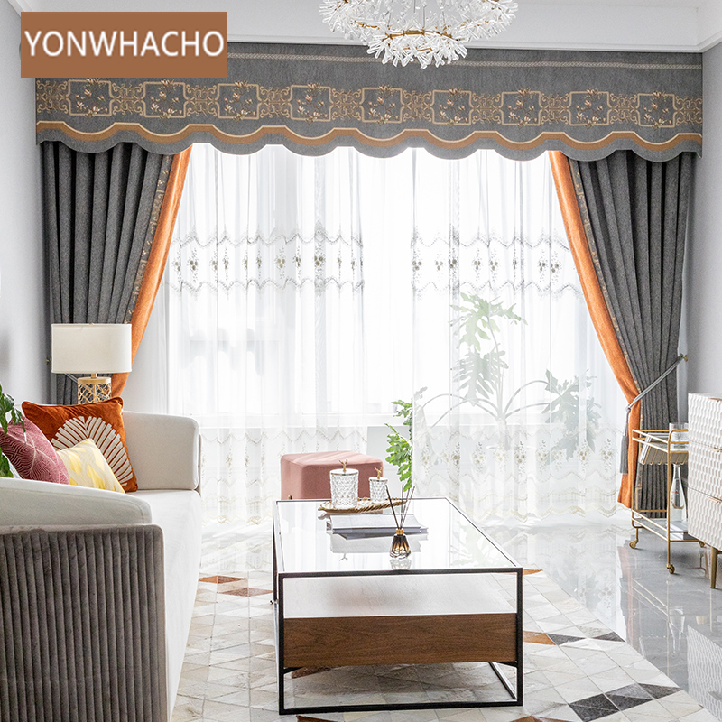 Custom curtains Luxury grey seamless stitching American Cashmere thick cloth blackout curtain tulle valance drape B841