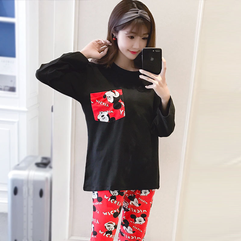 2018 Spring, Autumn And Winter Korean-style Thin Cartoon Mickey GIRL'S Pajamas Long Sleeve Casual Cute Homewear Set