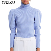 YNZZU Turtleneck Blue Balloon sleeve Women sewater 2019 Autumn Winter Slim Pullover Female Knitted pullover tops Jumper YT680