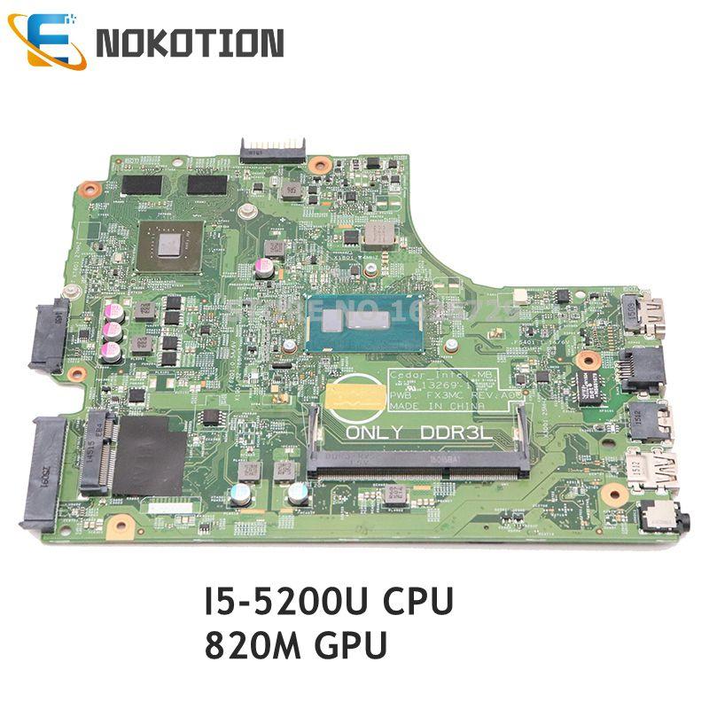 NOKOTION CN-0X4X4V 0X4X4V CN-06F3DW 06F3DW For Dell Inspiron 15R 3542 3543 3442 3443 Laptop Motherboard I5-5200U CPU 820M GPU