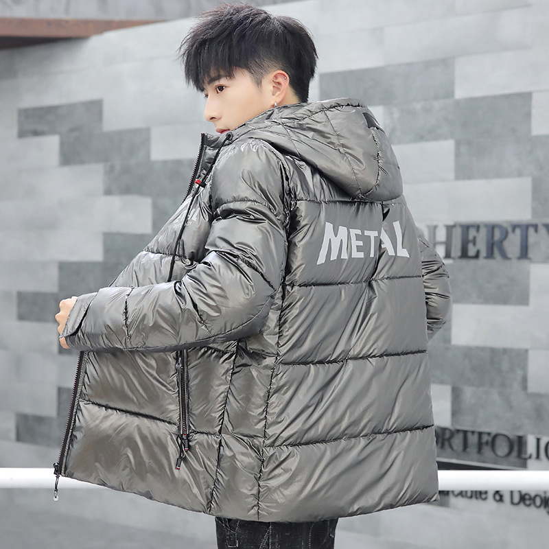 Soft And Comfortable Down Jacket Cotton-padded Clothes Men's Stand Collar Hooded Thick MEN'S Cotton Padded Clothing Silver-Gray