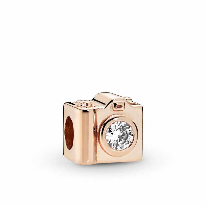 2019 ฤดูใบไม้ร่วงใหม่ 925 Sterling Silver Love กล้อง rose gold ลูกปัด Charm fit Pandora สร้อยข้อมือผู้หญิง DIY เครื่องประดับ