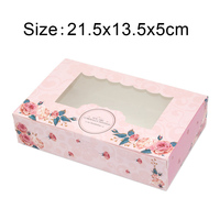 500 Pcs Paper Gift Box With Window Wedding Party Pink Rose Wreath Kraft Paper Box Cake Food Packaging Candy Cookies Cupcake