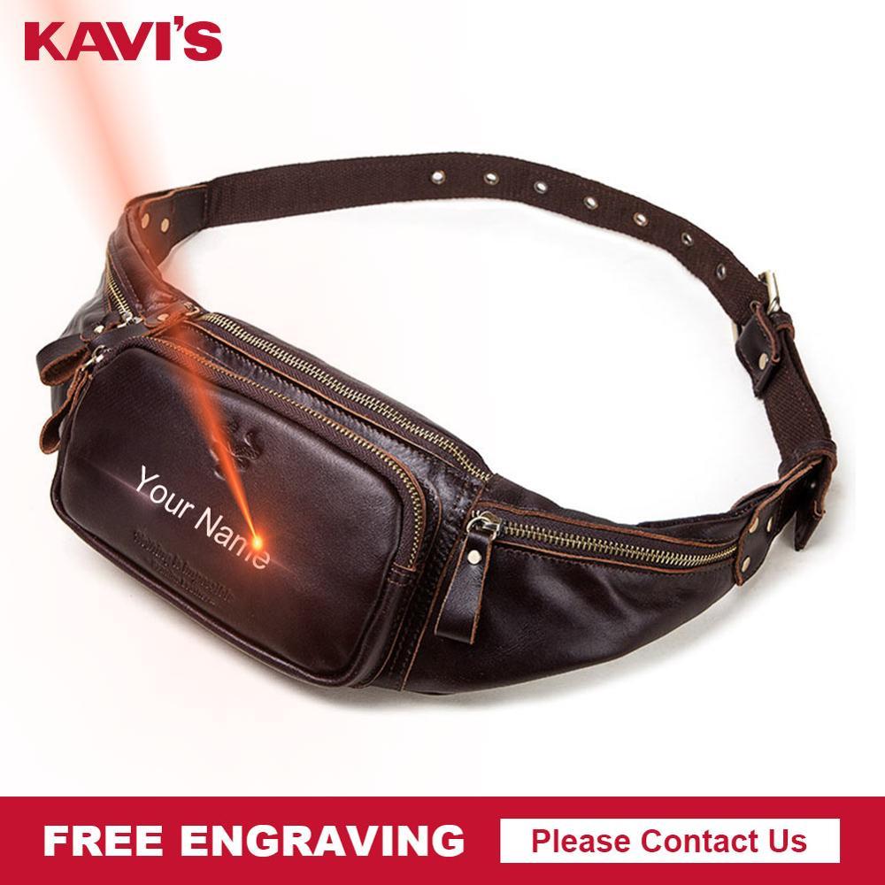 KAVIS Free Engraving 100% Cowhide Genuine Leather Waist Bag Men Male Packs Belt Loops Chest Bag Mobile Phone Holder Bag Named