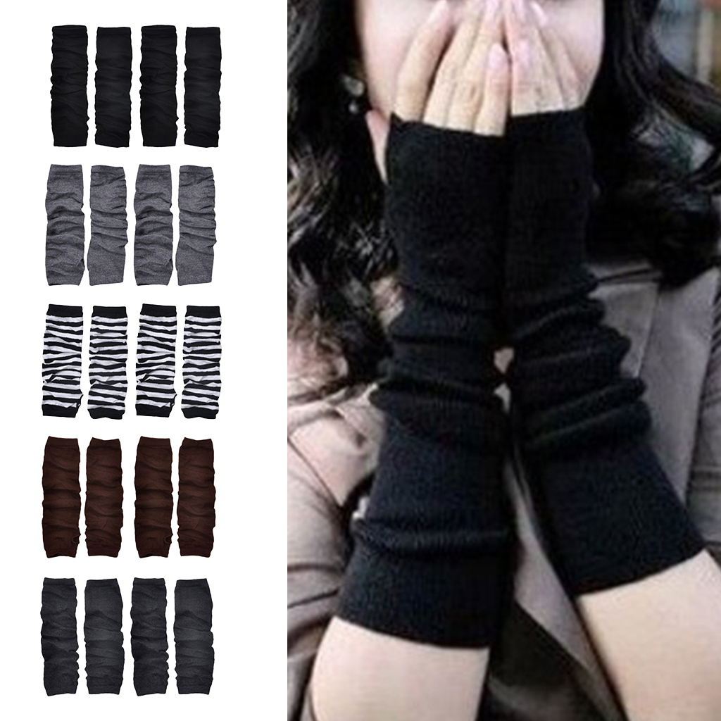 2Pairs Fashion Arm Warmer Long Fingerness Gloves Thumb Hole Knitted Hand Mittens