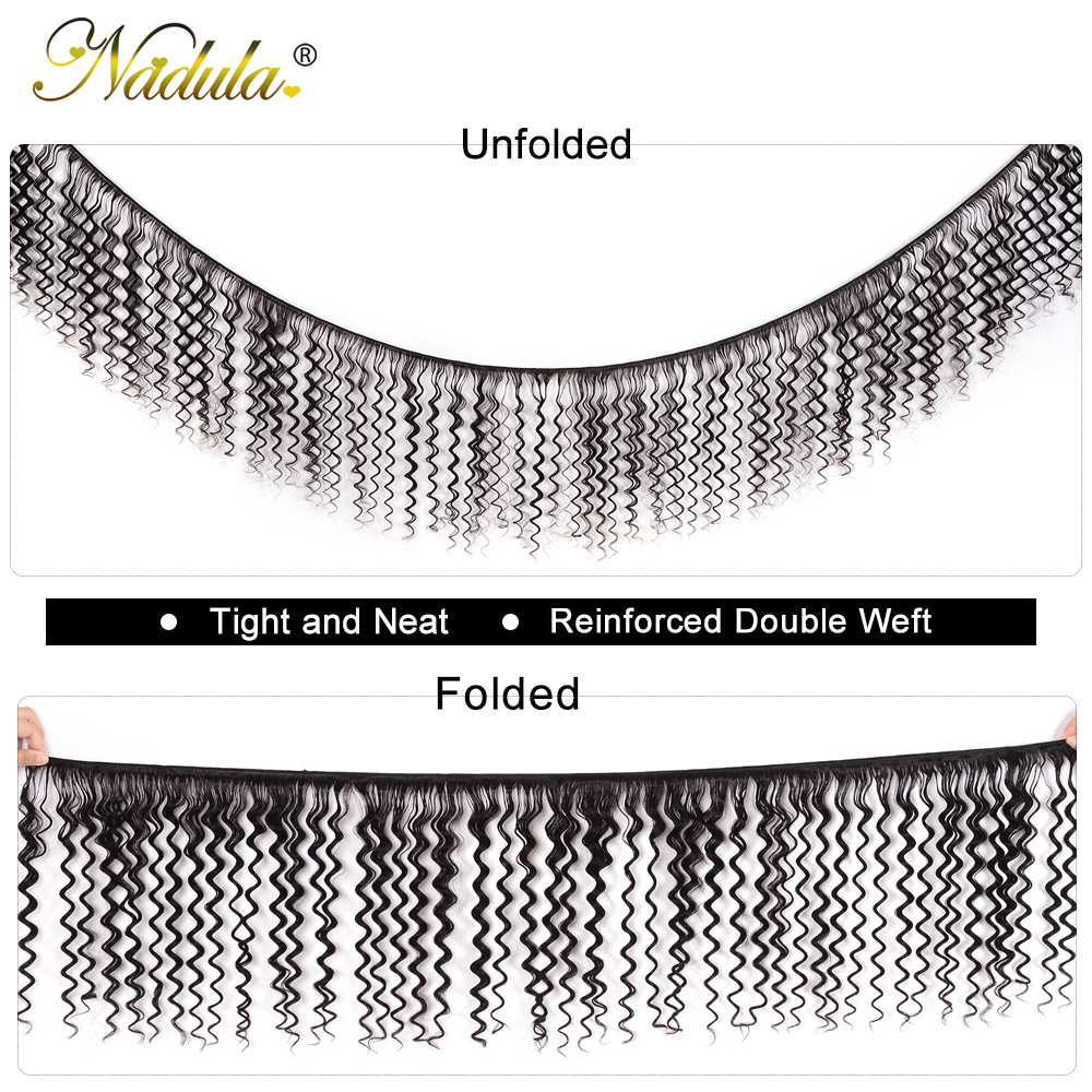 Nadula Hair  Deep Wave Bundles With Closure 10-28 inch 100%  s With Lace Closure Natural Color 2