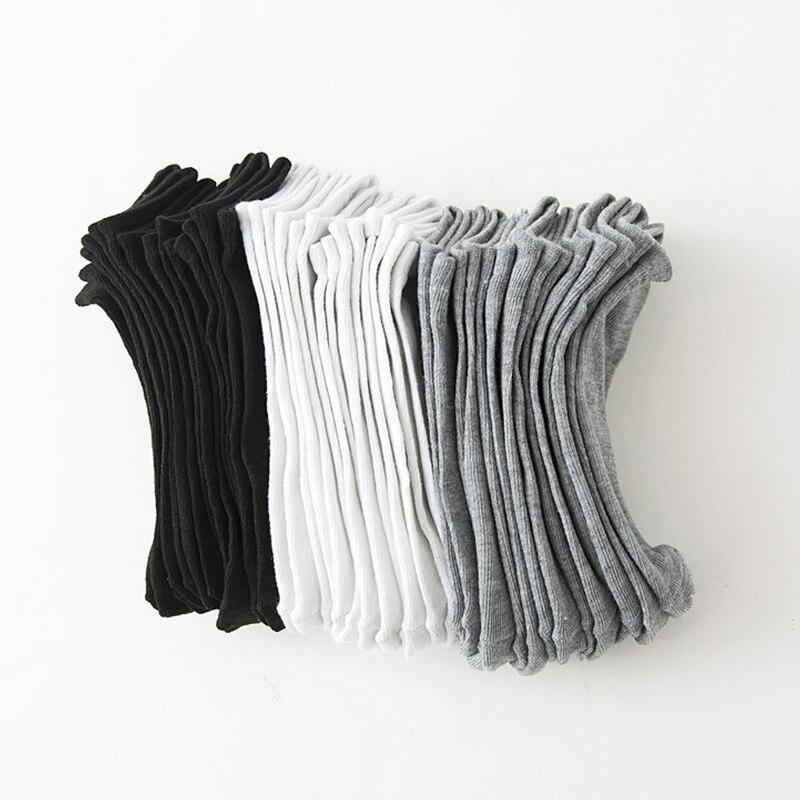 5/10 Pairs Black White Gray Low Cut Cotton Socks Neutral Casual Spring Summer Lady Boat Socks Short Students Girls Boat Socks
