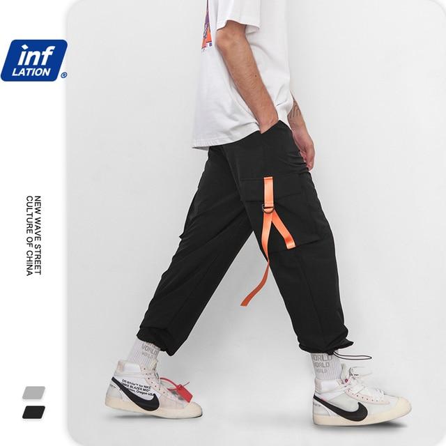 INFLATION 2020 Elastic Waist Patchwork Track Pants Mens Hip Hop Windbreaker Streetwear Trousers Harem Hip hop Swag Pants 8855W