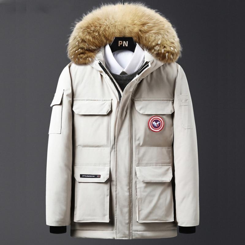 Down Jacket Men Warm Jacket Cotton Winter Padded Coat Classic Parka Feather Male Thicken Fur Collar Menswear Fashion Windbreaker