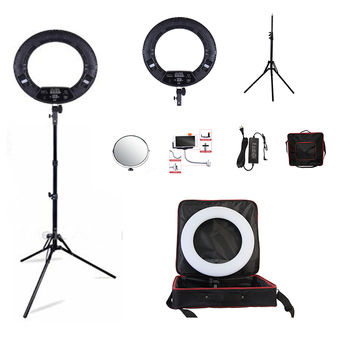 "Yidoblo Black FD-480II 18"" LED Ring lamp Kit 480 LED Warm & Cold Adjust Light Lamp Photographic Lighting + stand (2M)+ Soft bag"