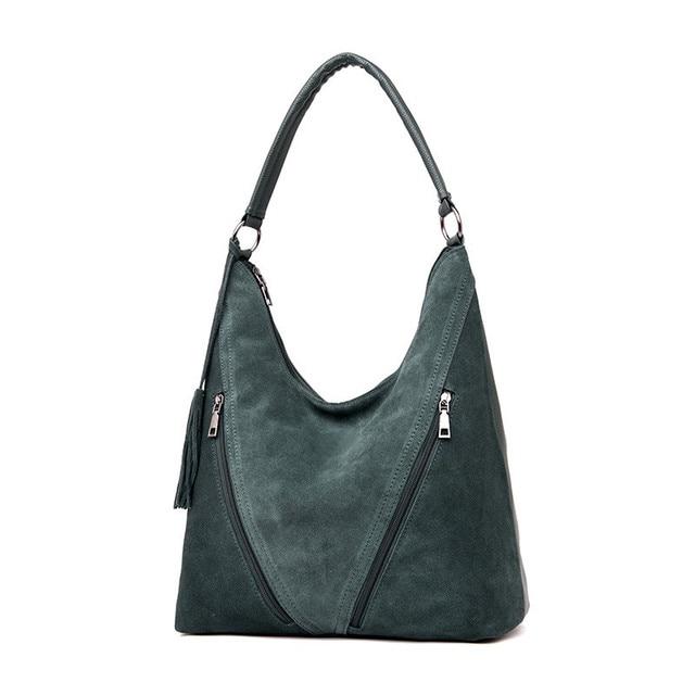 Fashion Green Suede & PU Leather Female Shoulder Bags Women Leather Handbag Designer Large Ladies Hobos Bag For Mother Hand Bags