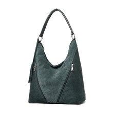 Moda zielony zamsz i PU skóra kobiet torby na ramię kobiety projektant torebek ze skóry duże panie torba typu hobo dla matki torebki