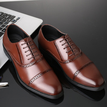 Brand Mens Leather Shoes Retro Brogues Men Business Formal Pointed Toe Oxford For Lace Up Dress Wedding