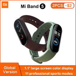 Xiaomi Mi Band 5 Global Version Smart Bracelet AMOLED Touch Screen Miband 5 Wristband Sport Fitness Tracker Heart Rate Monitor