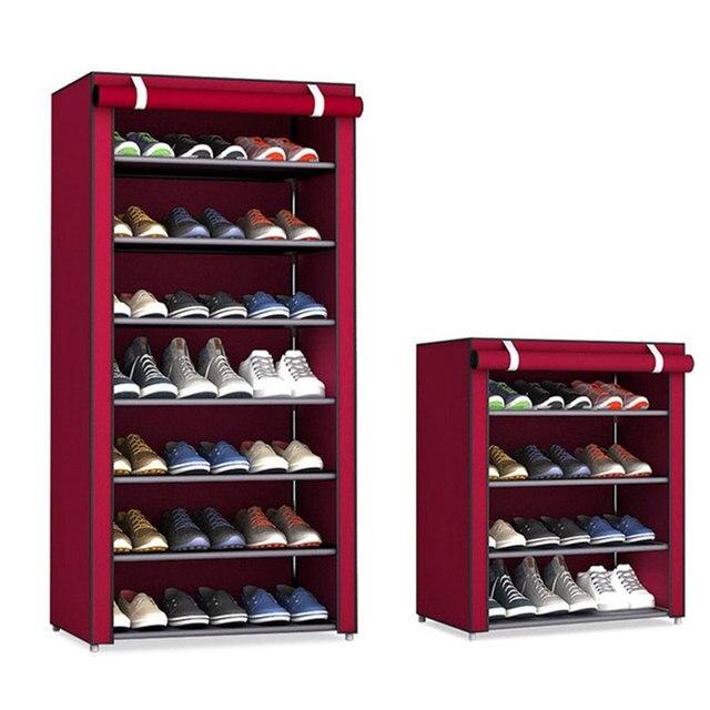 Simple Non woven Cloth Fabric Shoe Cabinet Multi layer Assembly Shoe Rack Folding Dustproof Shoe Storage Rack Shelves
