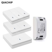 QIACHIP AC 110V 220V 433Mhz אוניברסלי ממסר 1CH אלחוטי שלט רחוק מתג מקלט מודול + RF קיר פנל כפתור led מנורה