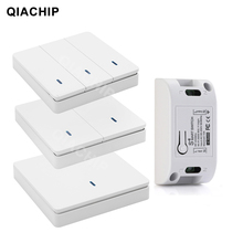 Qiachip Ac 110V 220V 433Mhz Universele Relais 1CH Draadloze Afstandsbediening Schakelaar Ontvanger Module + Rf Muur panel Knop Led Lamp