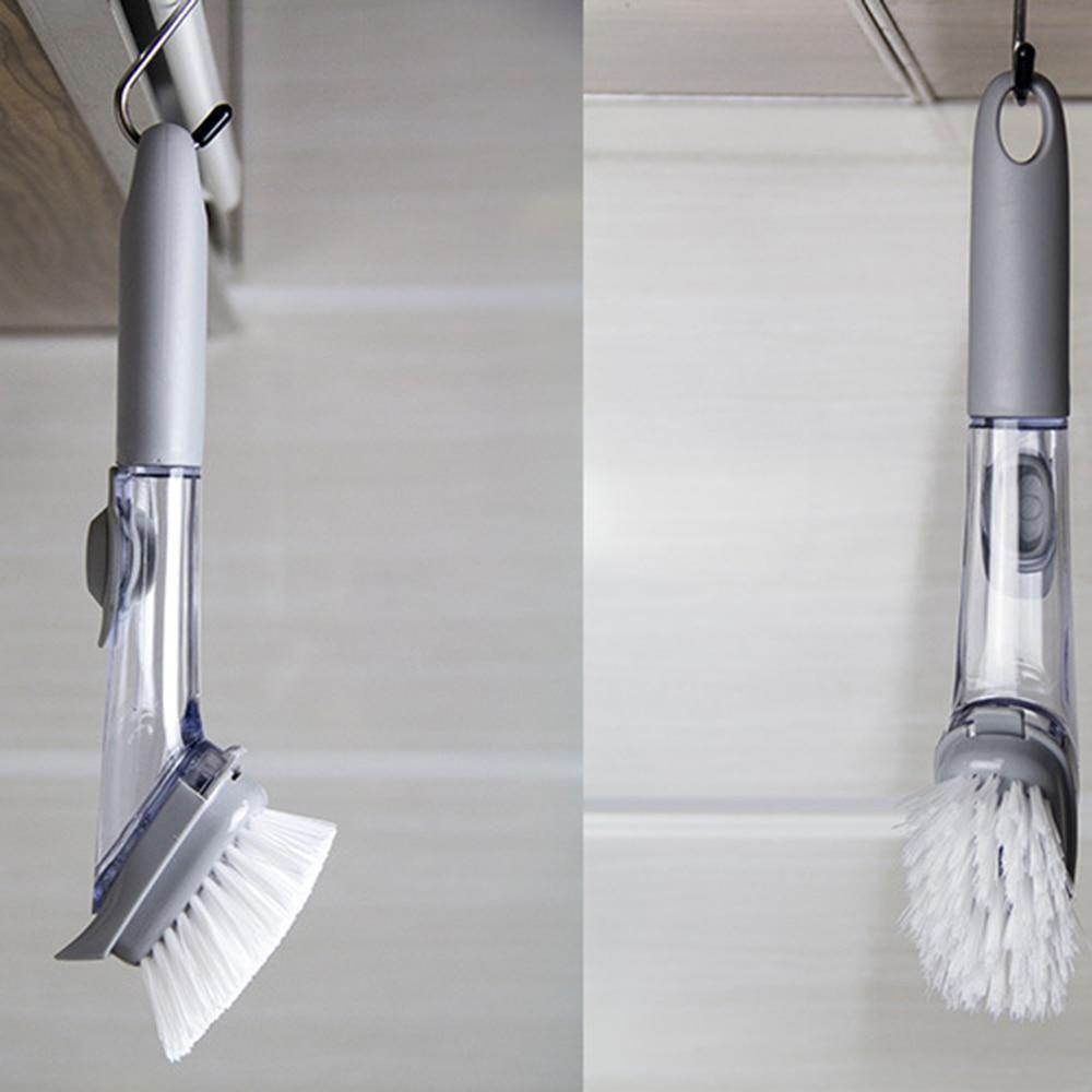 Ev ve Bahçe'ten Temizlik Fırçaları'de Kullanışlı 2 In1 Mutfak Temizleme Fırçası 4 Çıkarılabilir Fırçaları Uzun Sap Sünger Temizleme Fırçası Sabun Dağıtım Çanağı Fırça Seti title=