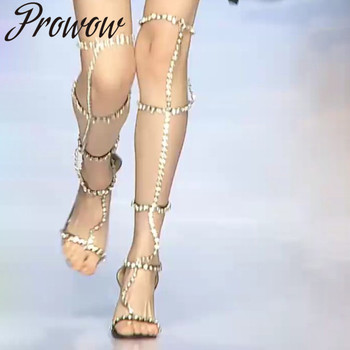 Prowow Summer Gladiator Over The Knee High Thin HIgh Sandals Open Toe Crystal Narrow Band High Heel Sandals Shoes Women