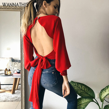 WannaThis Backless Blouse Woman2019 Elegant Bow Bandage Hollow Out Autumn Lantern Sleeve Button Cropped Black Lady Party