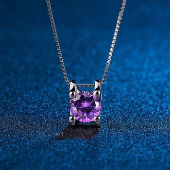 Suga Purple Crystal Jewelry Chain Necklace