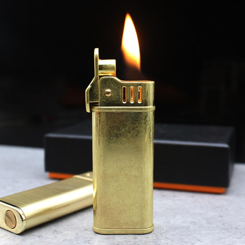 Flint Retro Brass Torch Lighter Grinding Wheel Free Fire Kerosene Oil Pipe Lighter Cigarette Gasoline Windproof Gadgets For Men