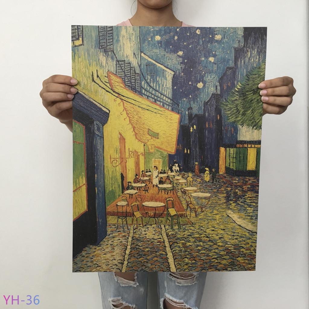 Плакат маслом Ван Гога Мона, Винтажный Классический крафт-бумага, плакат, живопись, наклейки на стену, домашний декоративный YH-31-42 - Цвет: YH-36