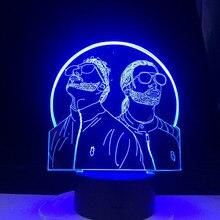 Grupo de rap francês pnl 3d led night light mudando a cor 3d noite lâmpada quarto iluminação para fãs suprise presentes dropship