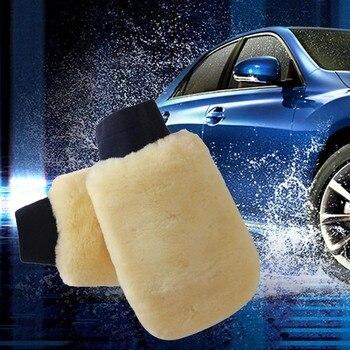 1PC Waxed gloves duplex wool car wash brush Car Soft Polishing Glove Lambswool Washing Cleaning Polish