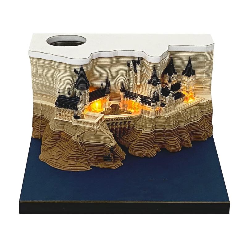 155 Sheets Block NoteThree-dimensional Night Lights Led Lamp 3D Memo Pad Journaling Decoration School Stationery gift Lamp