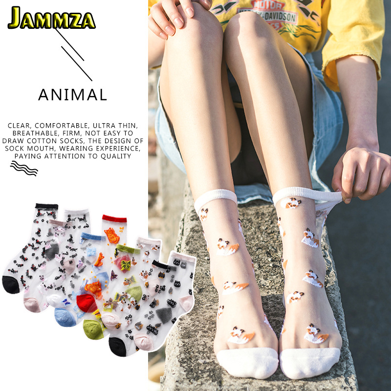 2020 Spring Summer New Glass Silk Socks Women Cute Animal Japanese Style Socks Ultra-thin Transparent Embroidery Socks As A Gift