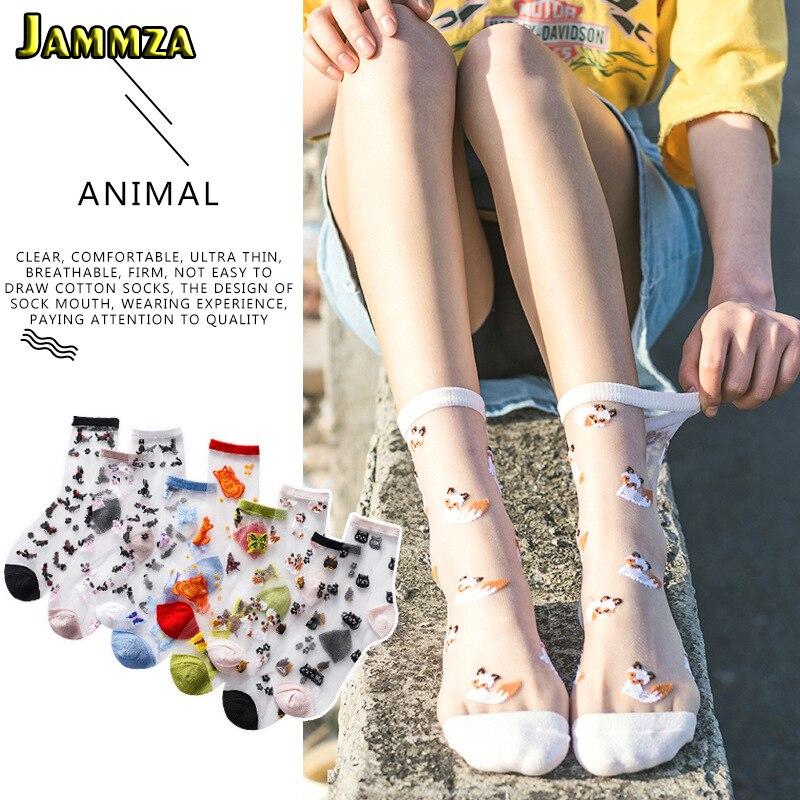 2020 Spring Summer New Glass Silk Socks Women Cute Animal Japanese Style Socks Ultra-thin Transparent Embroidery Socks As A Gift