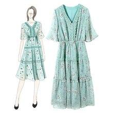 Женское кружевное платье в стиле ретро зеленое Повседневное