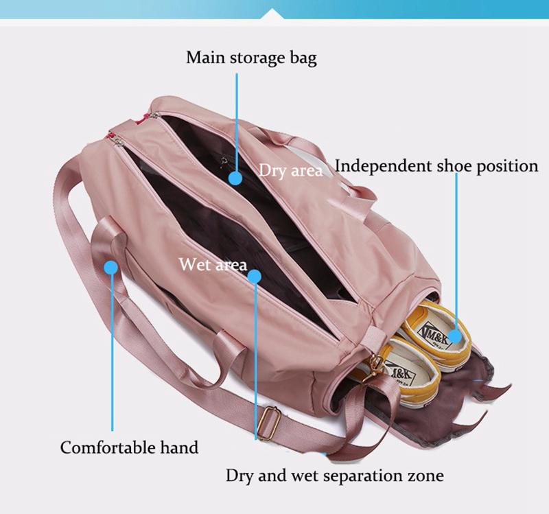 Outdoor Waterproof Nylon Sports Gym Bags Men Women Training Fitness Travel Handbag Yoga Mat Sport Bag with shoes Compartment (44)