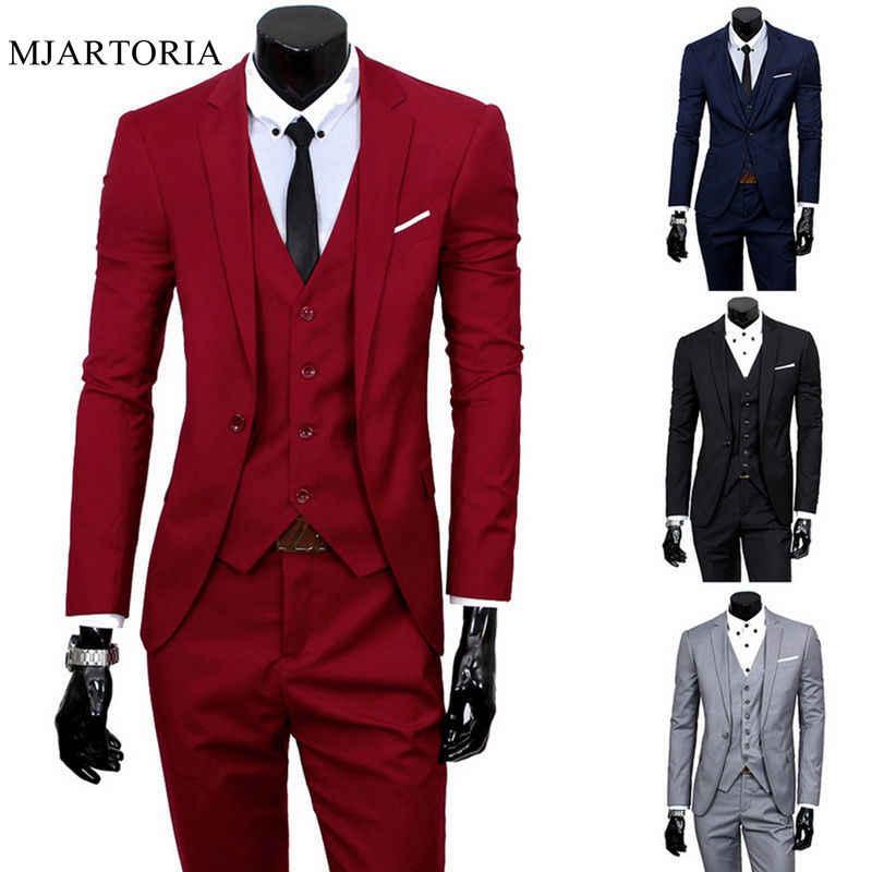 2020 זכר חליפות בלייזר Slim עסקי לבוש רשמי חתן איש חליפת מעודן לנכש משרד מכנסיים סט דק בלייזר