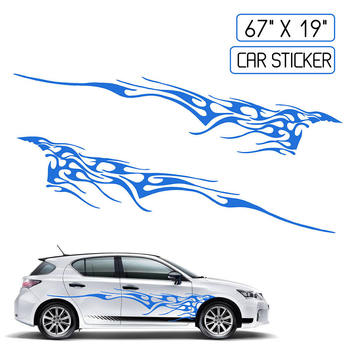 New Car Two Side Stickers Decal Vinyl Graphics 102''X14'' Car Body Decals Sticker Decoration image