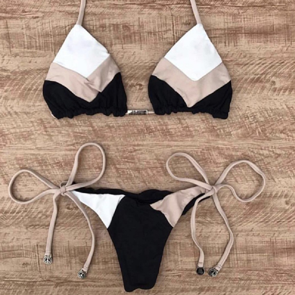 Micro Bikinis 2019 Sexy Solid Color Stitching Swimwear Women Bikini Set Swimming Suit Bathing Suit Swimsuit Biquinis Feminino