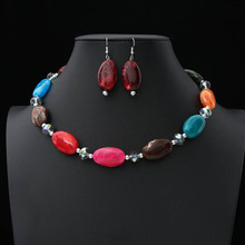 2019 Acrylic Jewelry sets Wedding Necklace Earrings Sets Oval beads necklace earring set for women Bride Party