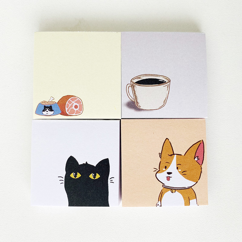 50Pages/Pack Mini Cat Dog Coffee Pocket Size Memo Pad Paper Notepad School Office Supply Student Stationery Kid Gift