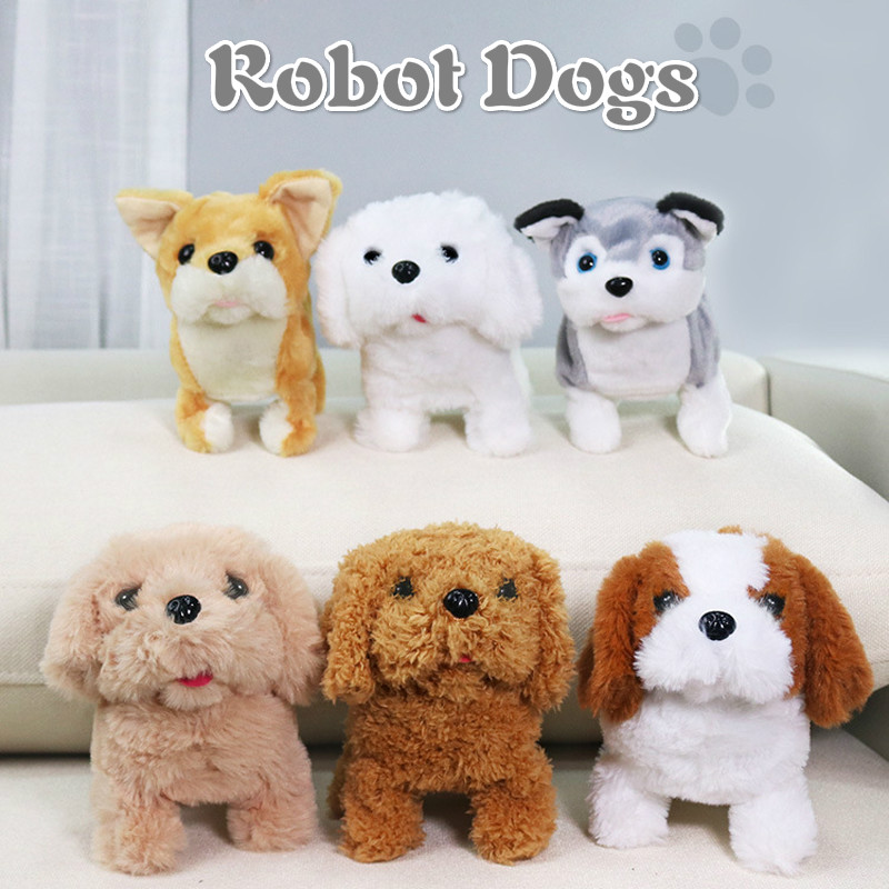 Electronic Sound Control Dogs Interactive Puppy Robot Pet Dog Bark Stand Walk Soft Toys for Kids Brown