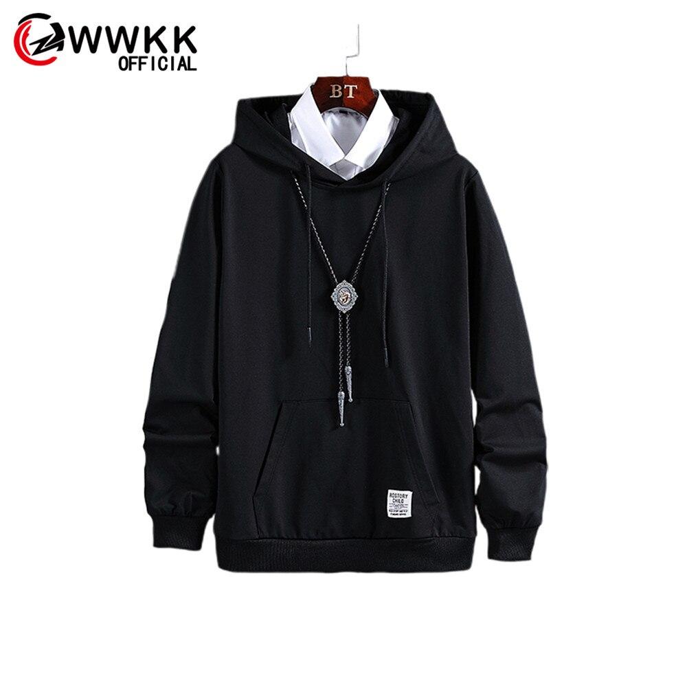 WWKK Мужская Новая Осенняя мода 2019 Горячая теплая свободная длинная Удобная черная однотонная мужская дышащая толстовка с капюшоном топы