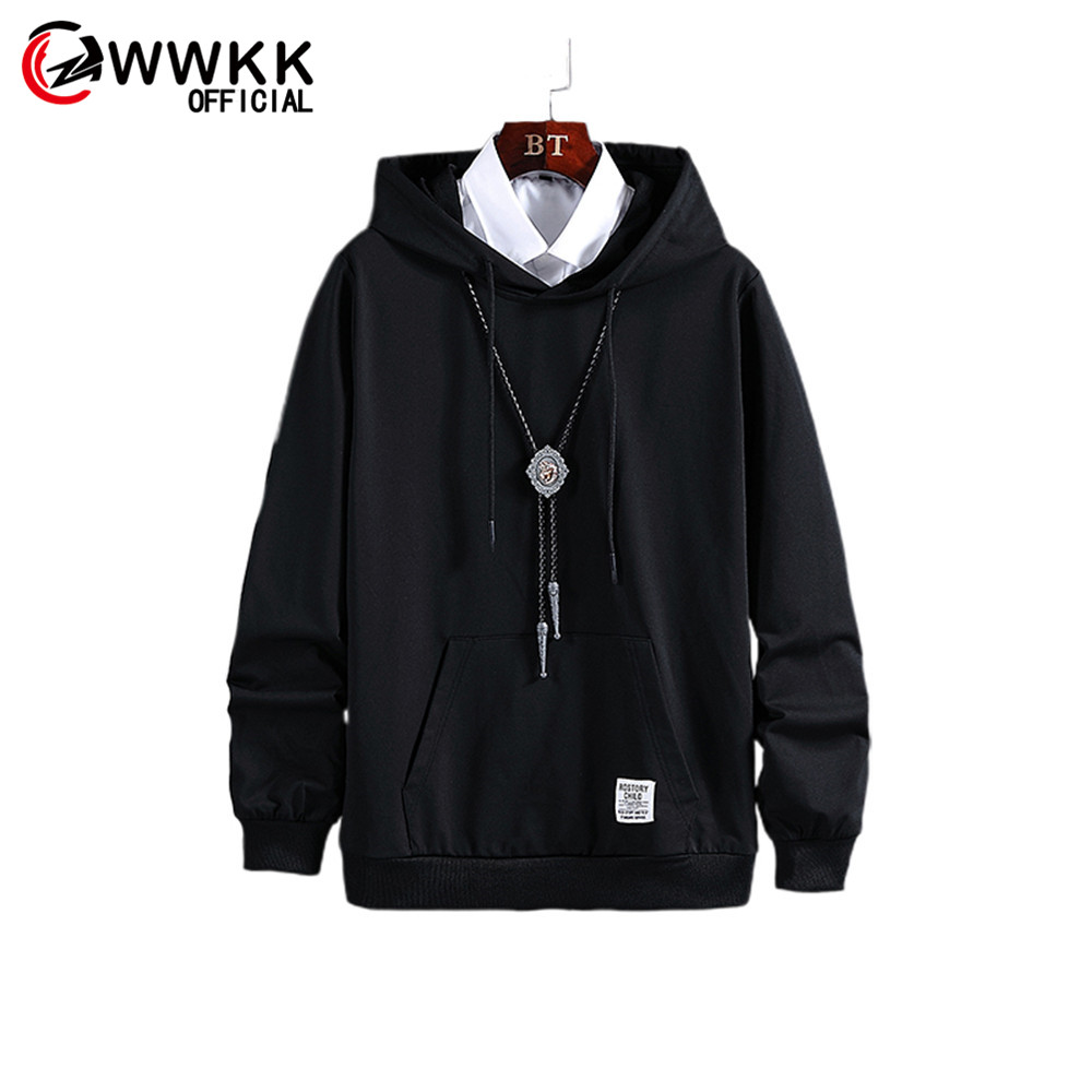 WWKK Men's New Autumn Fashion 2019 Hot Keep Warm Loose Long Comfortable Black Solid Color Hooded Male Breathable Sweatshirt Tops