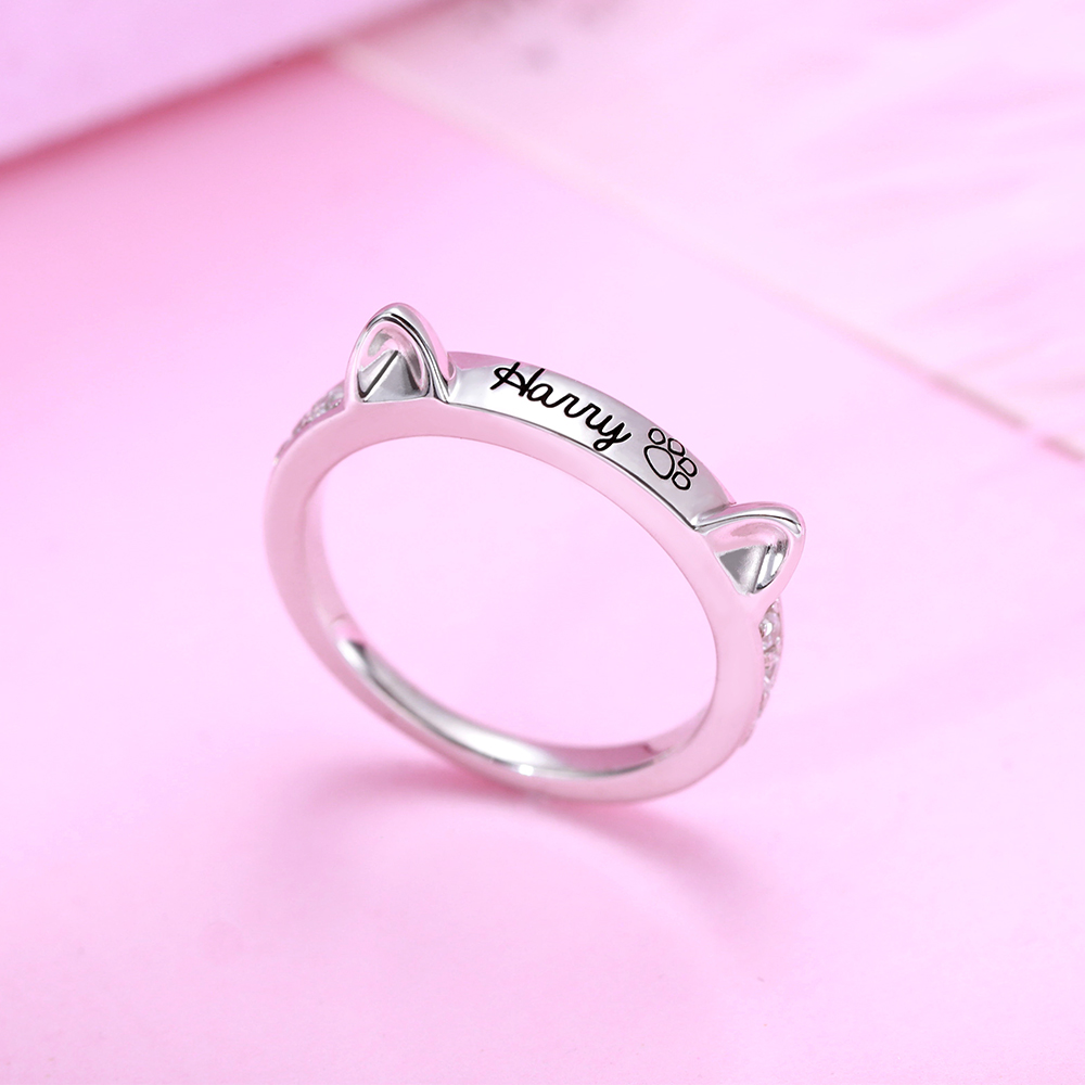 XiaoJing Personalized engraved Name Ring Custom Cute Cat Ears Ring Cat Paw Memorial Gift Jewelry Sterling Silver 925 wholesale