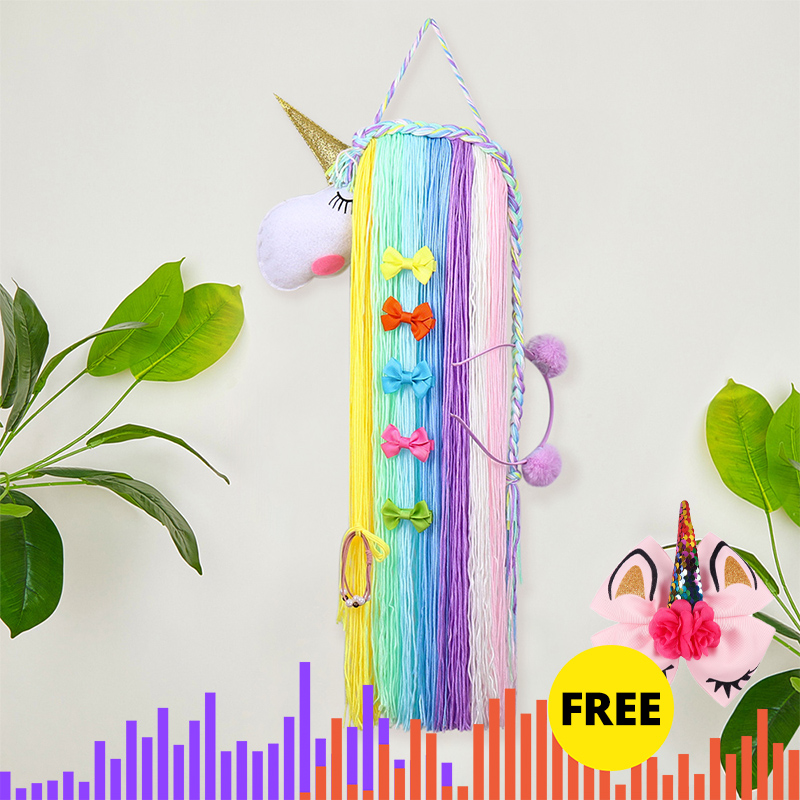 Oaoleer Hair Accessories Unicorn Hair Bows Storage Belt For Girls Hair Clips Barrette Hanger Organizer Hairband Scrunchy Holder