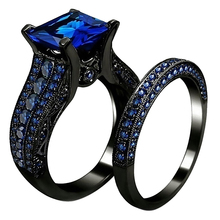 цена 2Pcs/Set Unique Ring Women Men Ring Square Cubic Zirconia Finger Ring Engagement Wedding Ring Women Wedding Jewelry US Size 5-12 онлайн в 2017 году
