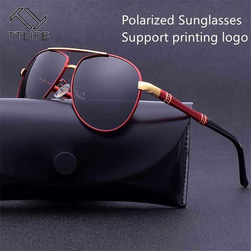 TTLIFE Personalized Custom Logo Large Metal Frame Flying Polarized Sunglasses Driving Uv400 Protection Eyeglass