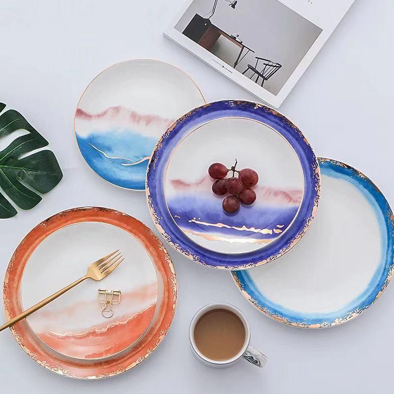 Nouveau or incrustation paysage brouillard assiettes en céramique assiettes Dessert plateau créatif Steak cuisine vaisselle décor à la maison plats assiettes