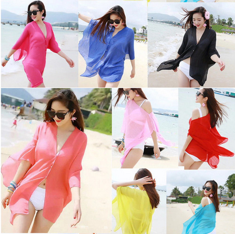 Hirigin Swimming Women Solid Color Swimwear Beachwear Bikini Beach Wear Cover Up Kaftan Summer Sarong Dress Cover Ups